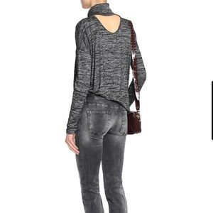 Rag & Bone Back Cutout Marled Gray Turtleneck Top